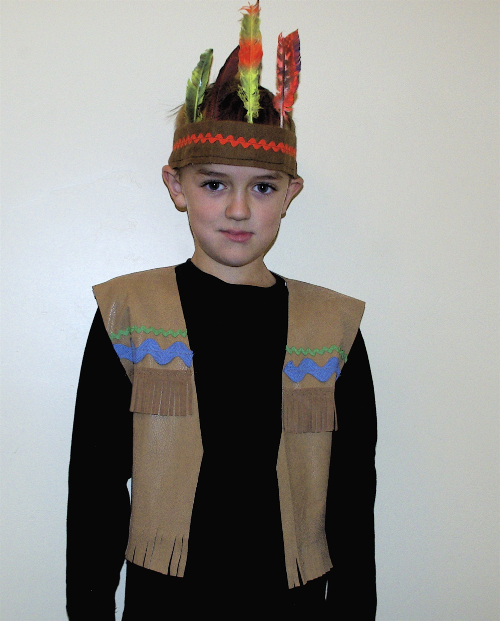 Here is the completed Native American Indian costume ...  sc 1 st  noelle o designs & Indian Vest Costume Learn to Make One - NoelleODesigns