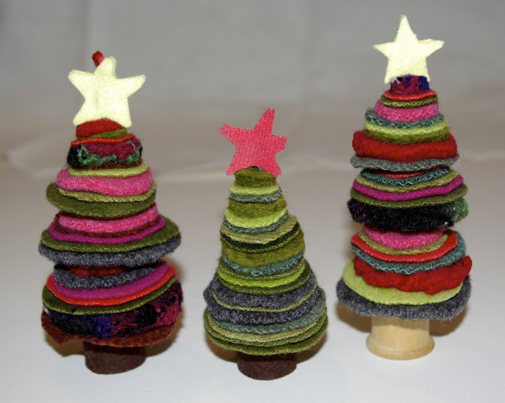 How to make upcycled wool felt Christmas ornaments