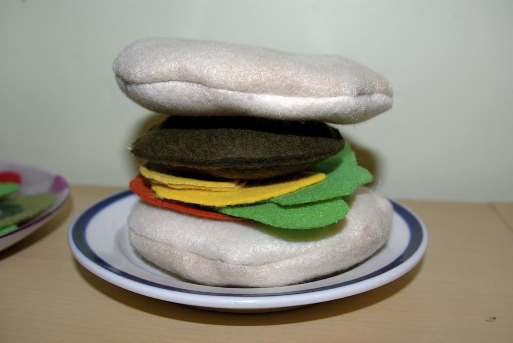 felt play food ideas for kids hamburger play food