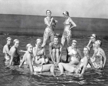vintage swimwear, synchronized swimmers