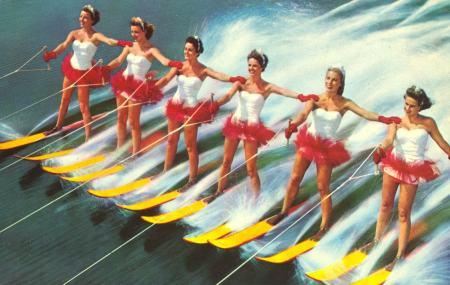 vintage swimwear ladies on waterskis