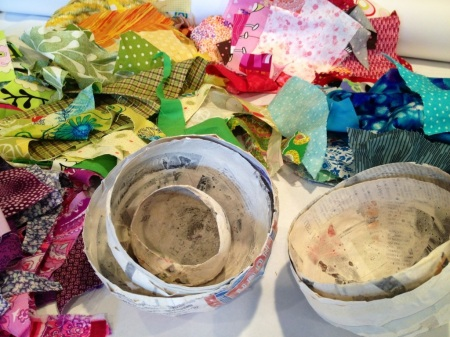 paper mache and fabric bowls